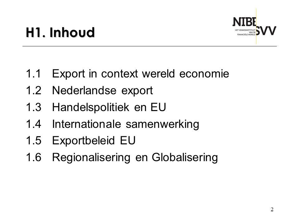 H1. Inhoud 1.1 Export in context wereld economie