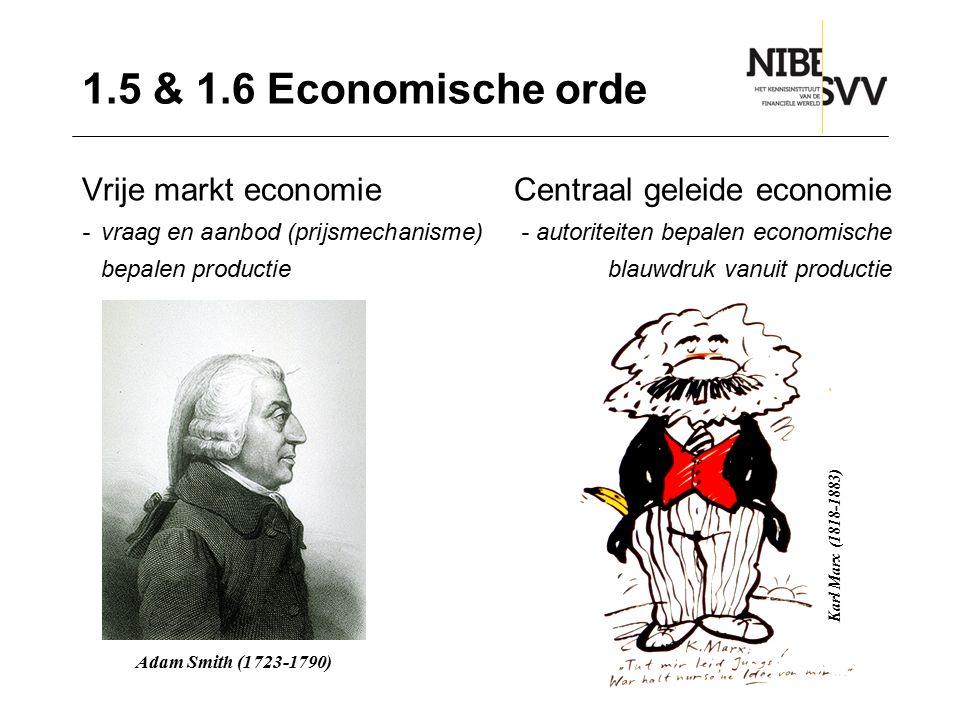 1.5 & 1.6 Economische orde Vrije markt economie Centraal geleide economie. - vraag en aanbod (prijsmechanisme) - autoriteiten bepalen economische.
