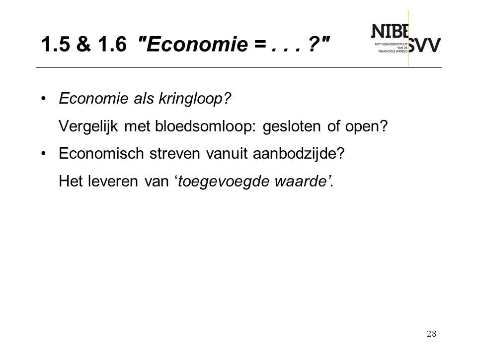 1.5 & 1.6 Economie = . . . Economie als kringloop