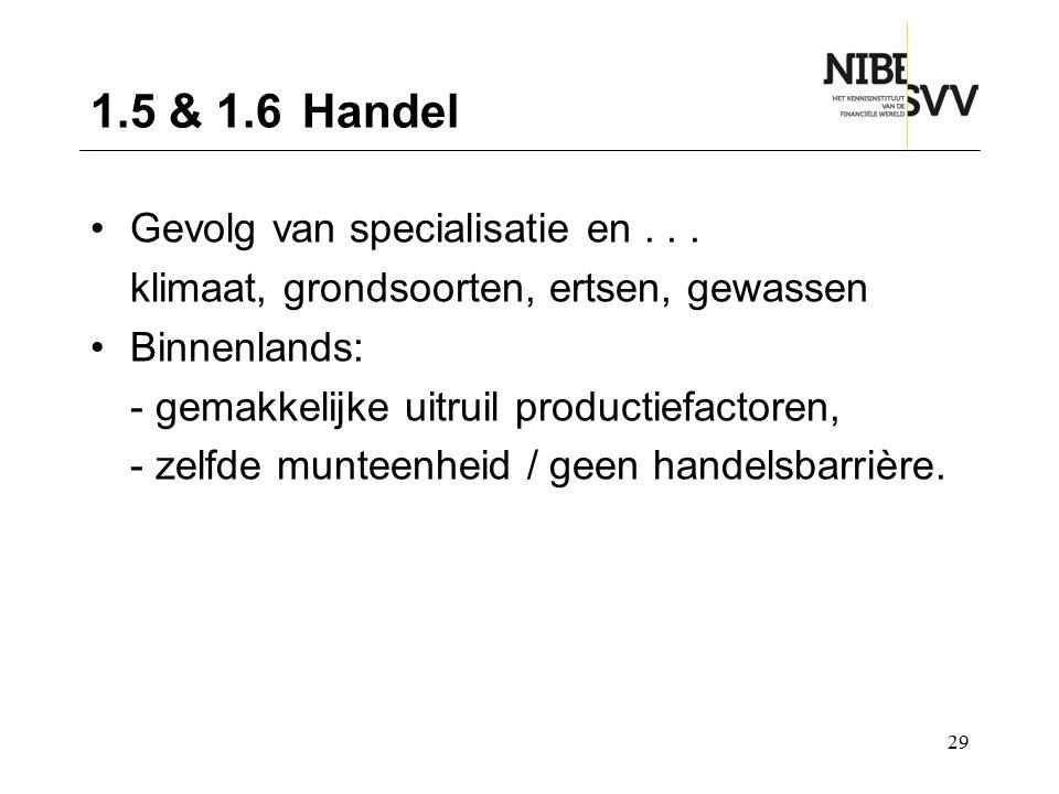 1.5 & 1.6 Handel Gevolg van specialisatie en . . .