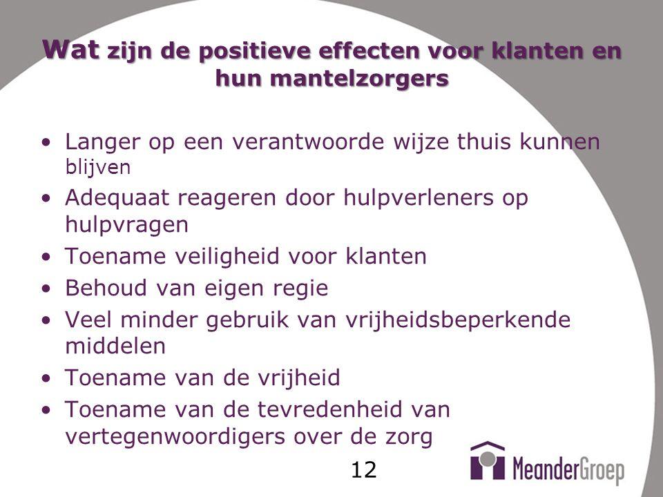 Wat zijn de positieve effecten voor klanten en hun mantelzorgers
