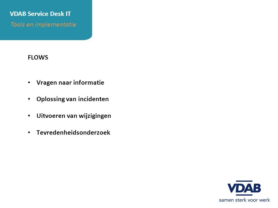 VDAB Service Desk IT Tools en implementatie. FLOWS. Vragen naar informatie. Oplossing van incidenten.