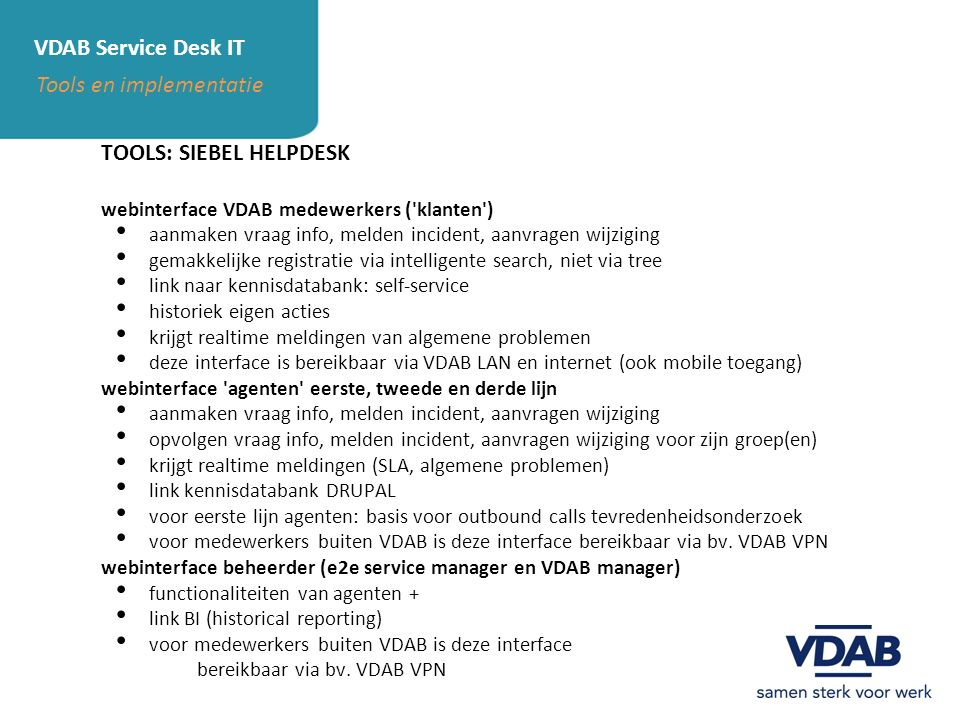 Tools en implementatie