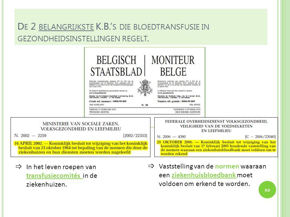 De 2 belangrijkste K.B.'s die bloedtransfusie in gezondheidsinstellingen regelt.