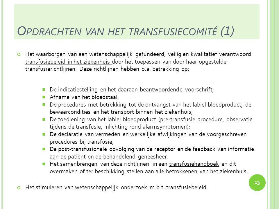 Opdrachten van het transfusiecomité (1)