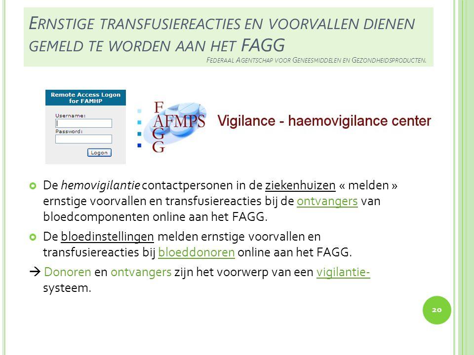 Ernstige transfusiereacties en voorvallen dienen gemeld te worden aan het FAGG Federaal Agentschap voor Geneesmiddelen en Gezondheidsproducten.