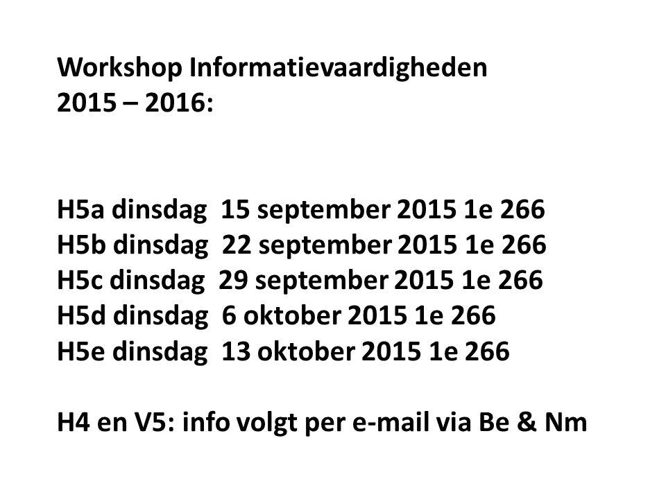 Workshop Informatievaardigheden