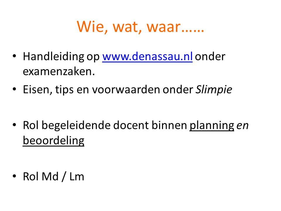 Wie, wat, waar…… Handleiding op www.denassau.nl onder examenzaken.