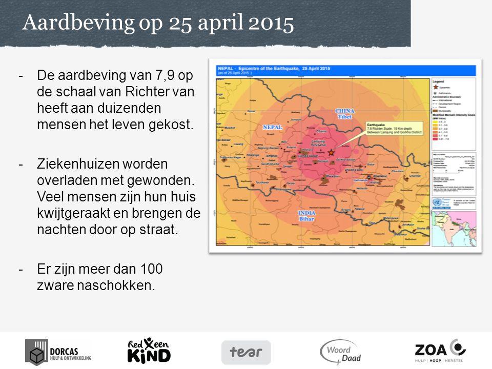 Aardbeving op 25 april 2015 De aardbeving van 7,9 op de schaal van Richter van heeft aan duizenden mensen het leven gekost.