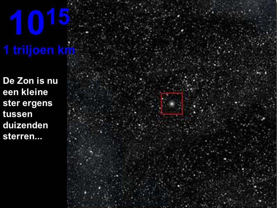 1015 1 triljoen km De Zon is nu een kleine ster ergens tussen duizenden sterren...