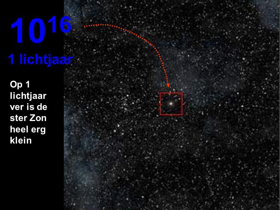 1016 1 lichtjaar Op 1 lichtjaar ver is de ster Zon heel erg klein