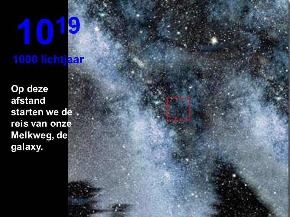 1019 1000 lichtjaar Op deze afstand starten we de reis van onze Melkweg, de galaxy.