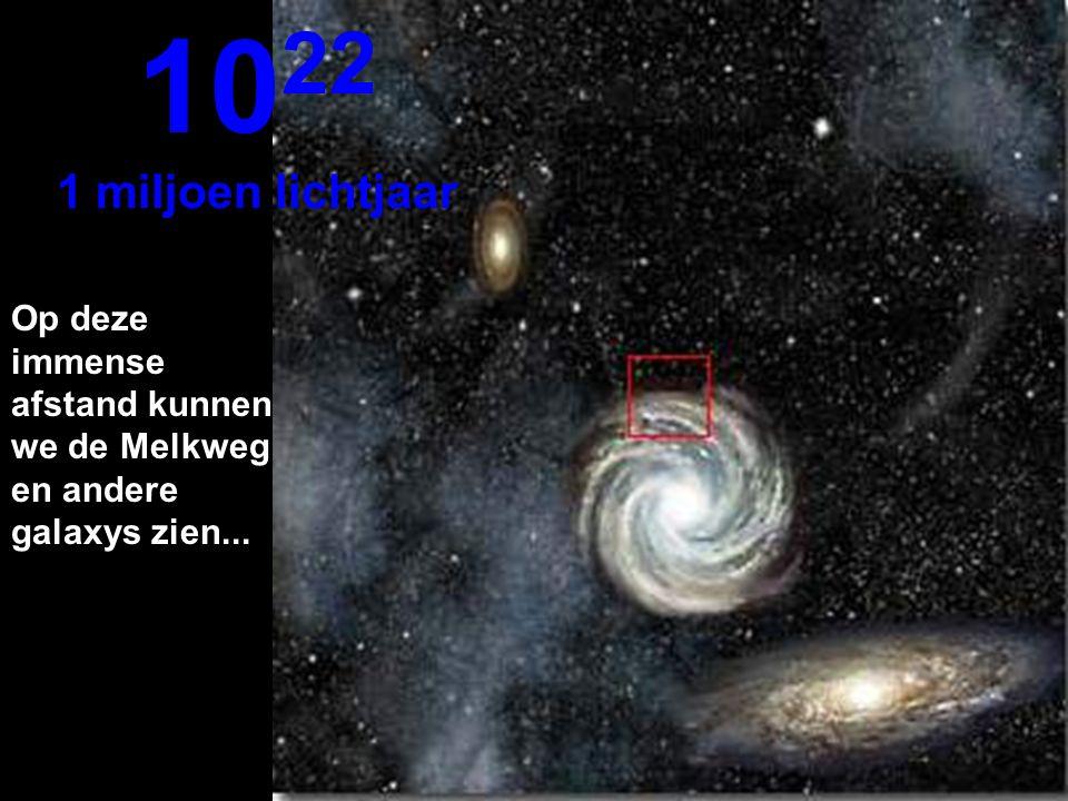 1022 1 miljoen lichtjaar Op deze immense afstand kunnen we de Melkweg en andere galaxys zien...