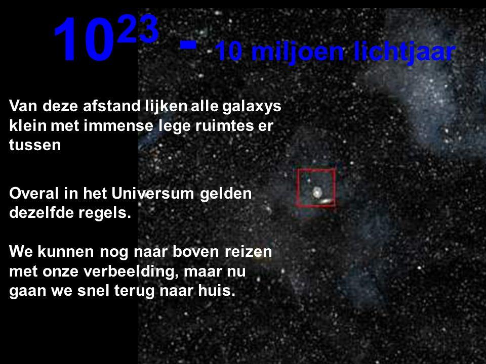 1023 - 10 miljoen lichtjaar Van deze afstand lijken alle galaxys klein met immense lege ruimtes er tussen.