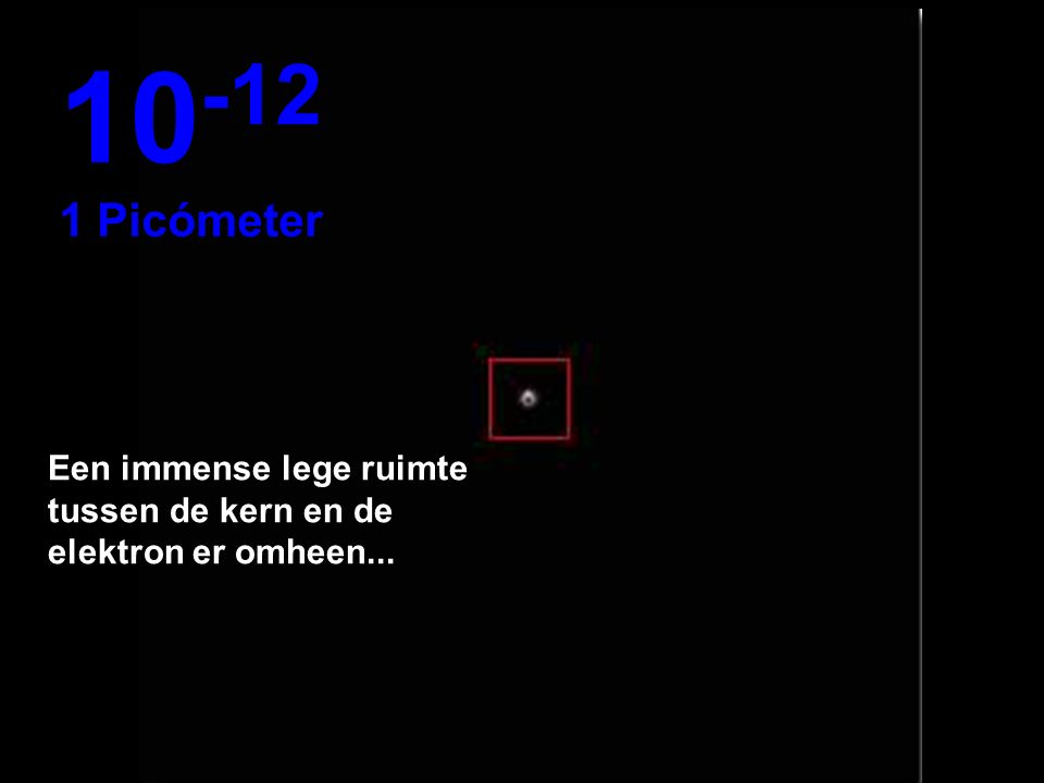 10-12 1 Picómeter Een immense lege ruimte tussen de kern en de elektron er omheen...
