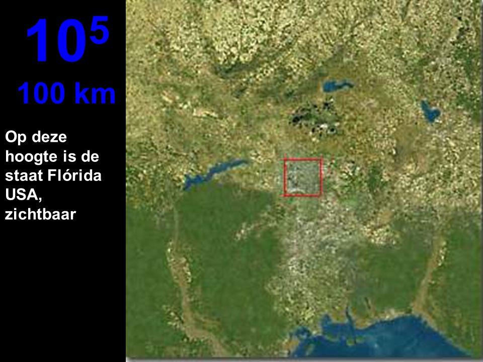 105 100 km Op deze hoogte is de staat Flórida USA, zichtbaar