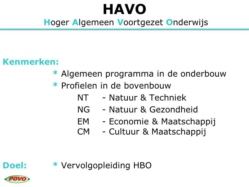 HAVO Hoger Algemeen Voortgezet Onderwijs