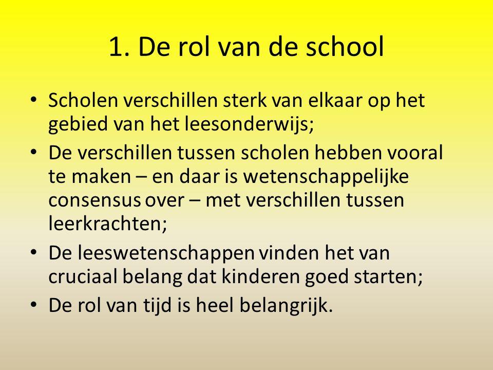 1. De rol van de school Scholen verschillen sterk van elkaar op het gebied van het leesonderwijs;
