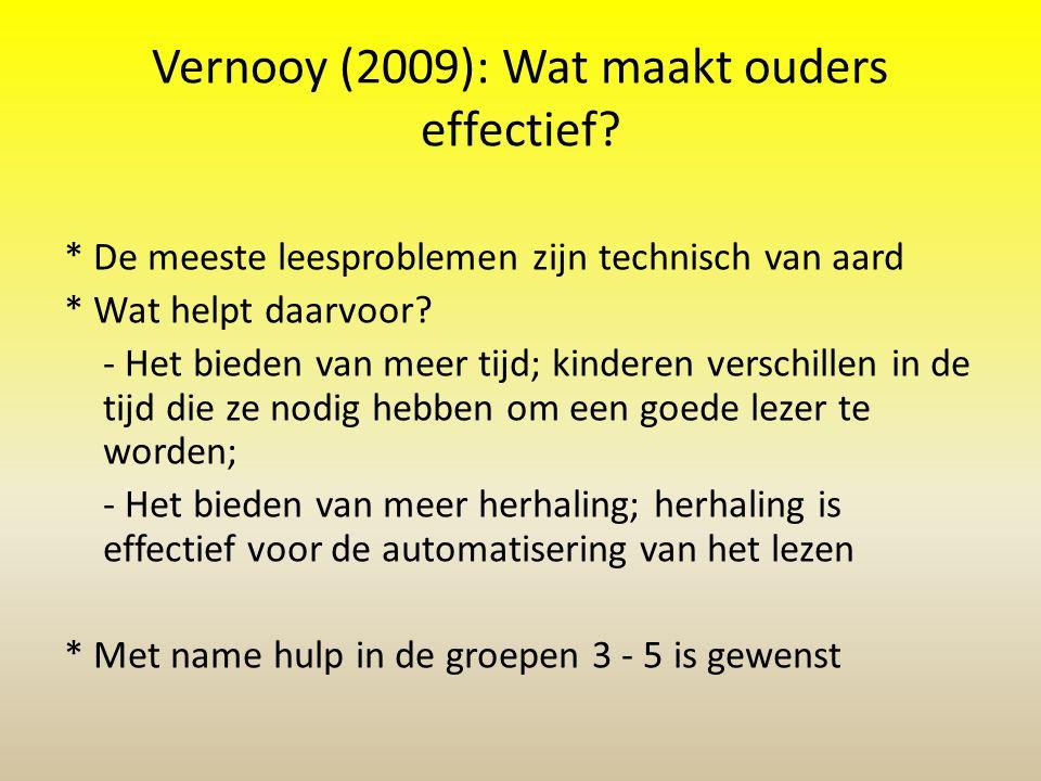 Vernooy (2009): Wat maakt ouders effectief