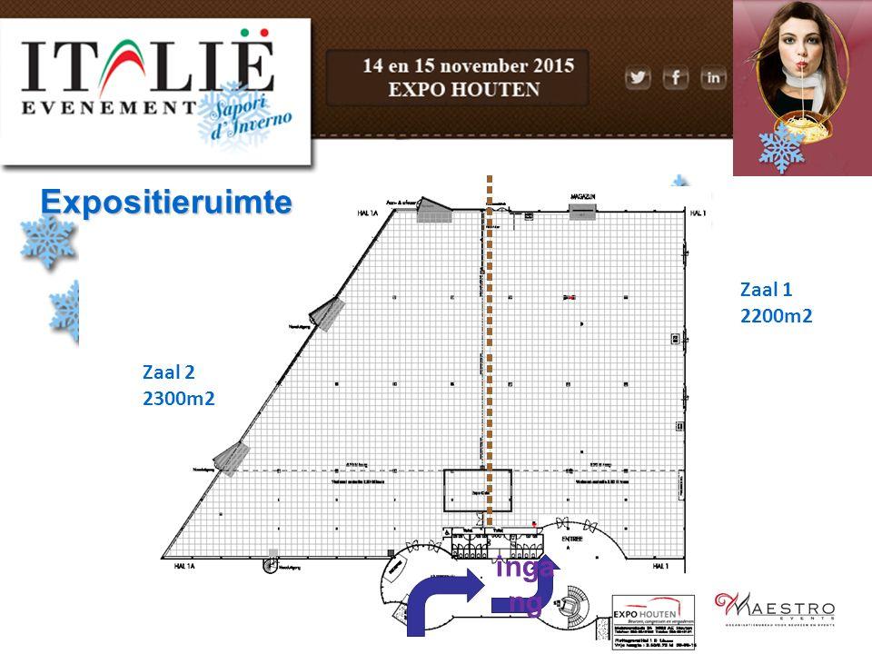 Expositieruimte Zaal 1 2200m2 Zaal 2 2300m2 ingang
