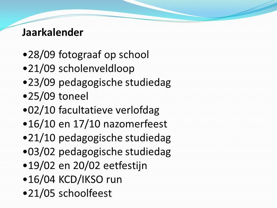 Jaarkalender 28/09 fotograaf op school. 21/09 scholenveldloop. 23/09 pedagogische studiedag. 25/09 toneel.