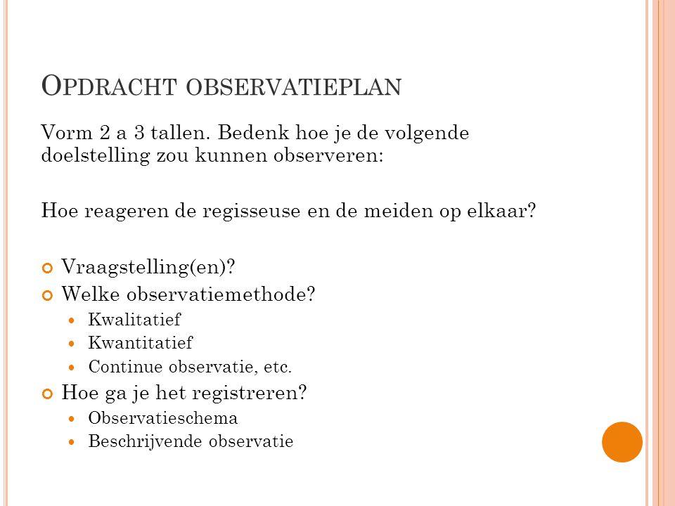 Opdracht observatieplan