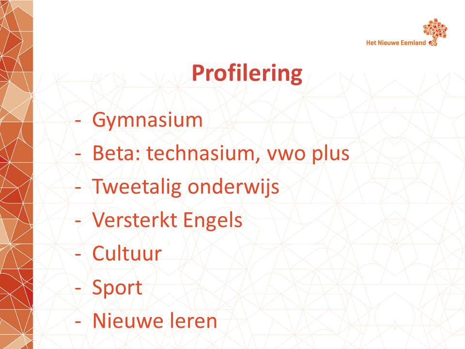Profilering Gymnasium Beta: technasium, vwo plus Tweetalig onderwijs