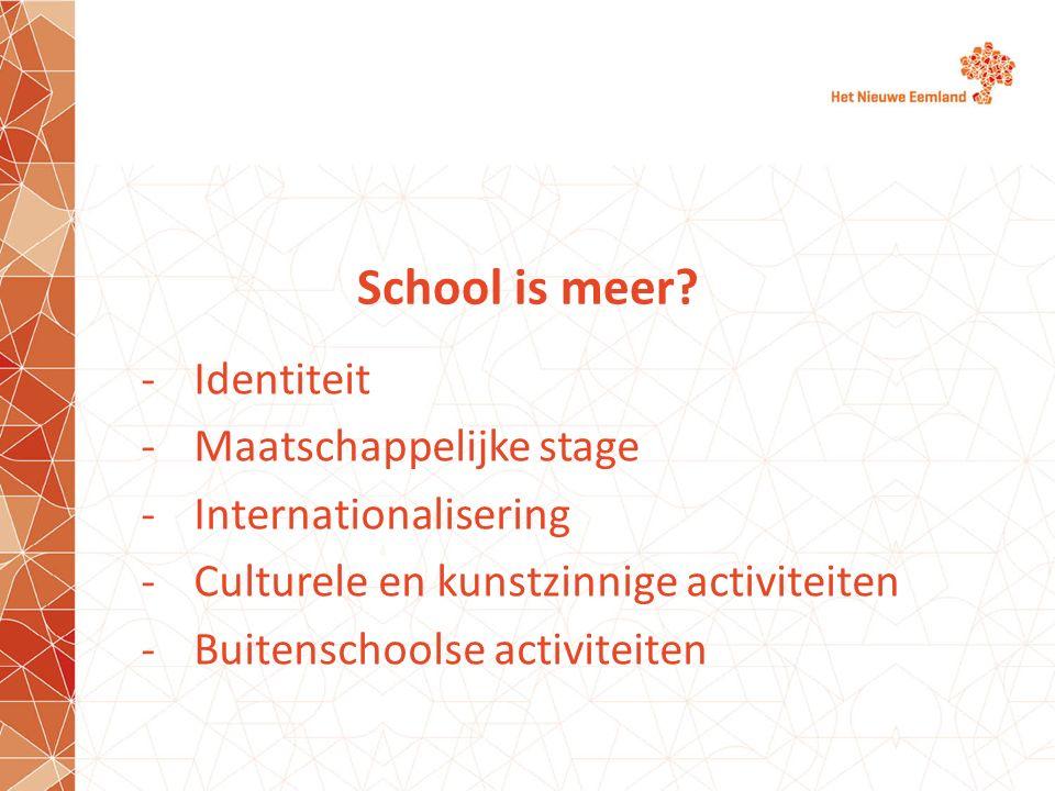 School is meer Identiteit Maatschappelijke stage Internationalisering