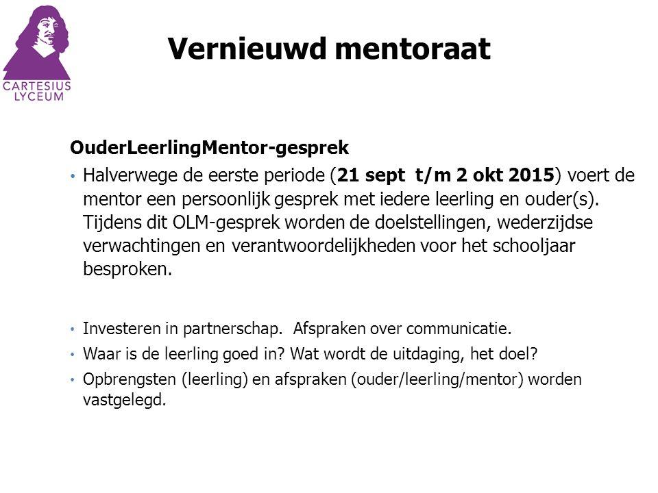 Vernieuwd mentoraat OuderLeerlingMentor-gesprek