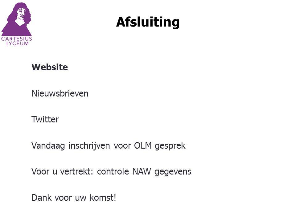 Afsluiting Website Nieuwsbrieven Twitter