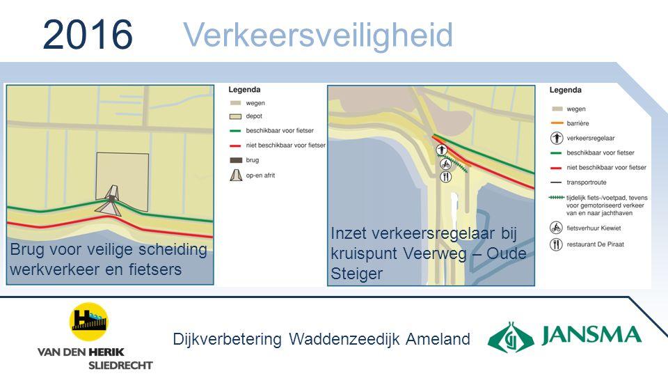 2016 Verkeersveiligheid. Inzet verkeersregelaar bij kruispunt Veerweg – Oude Steiger. Brug voor veilige scheiding werkverkeer en fietsers.