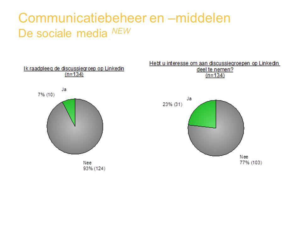 Communicatiebeheer en –middelen De sociale media NEW
