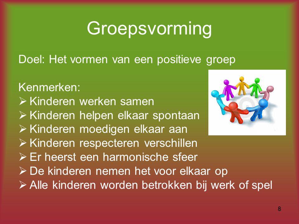 Groepsvorming Doel: Het vormen van een positieve groep Kenmerken: