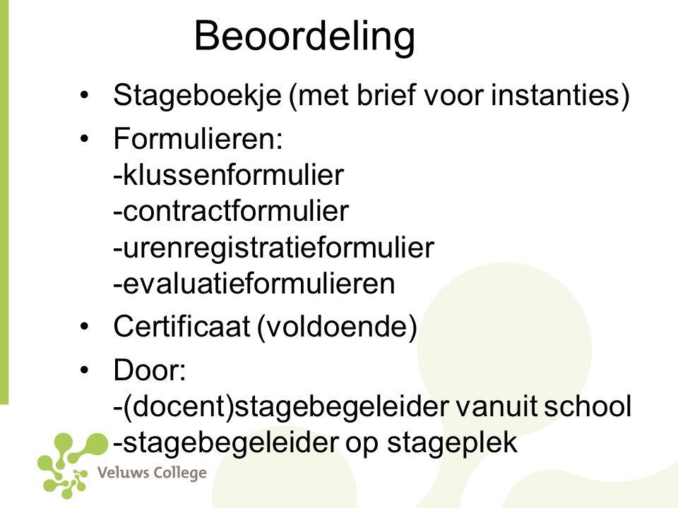 Beoordeling Stageboekje (met brief voor instanties)