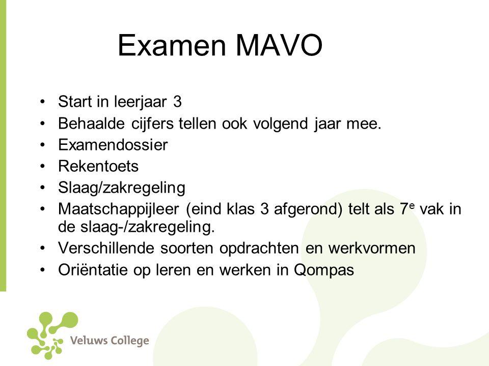 Examen MAVO Start in leerjaar 3