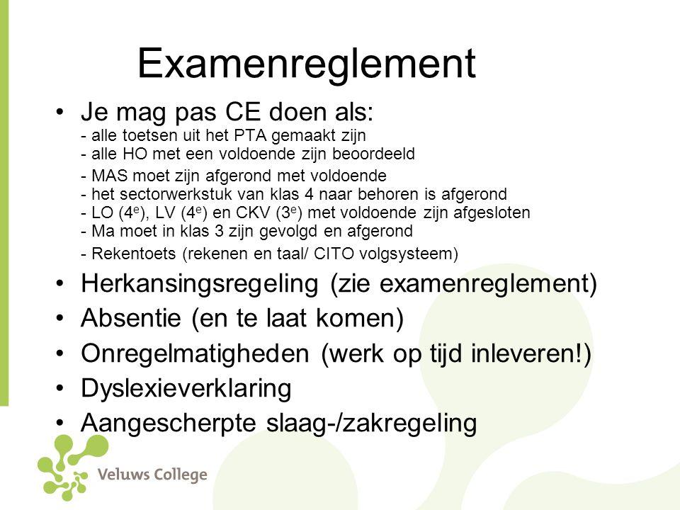 Examenreglement Je mag pas CE doen als: - alle toetsen uit het PTA gemaakt zijn - alle HO met een voldoende zijn beoordeeld.