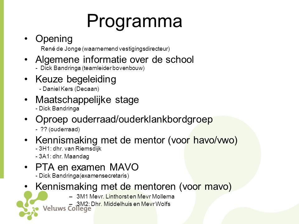 Programma Opening. René de Jonge (waarnemend vestigingsdirecteur) Algemene informatie over de school - Dick Bandringa (teamleider bovenbouw)