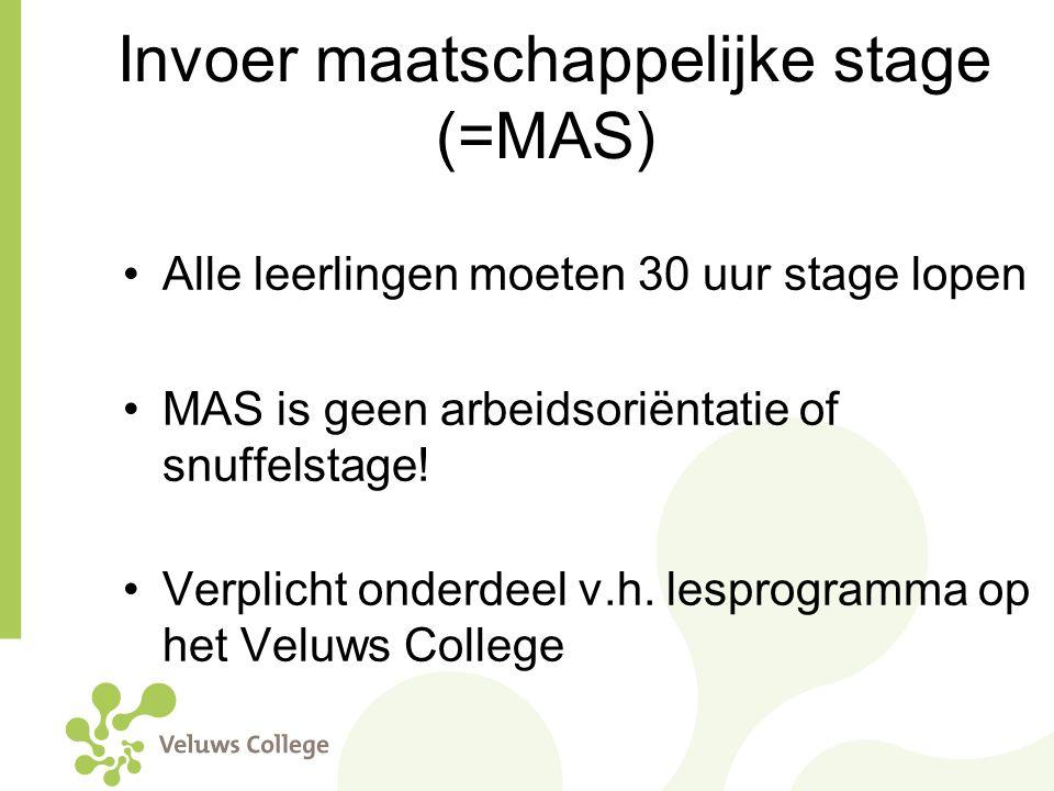 Invoer maatschappelijke stage (=MAS)