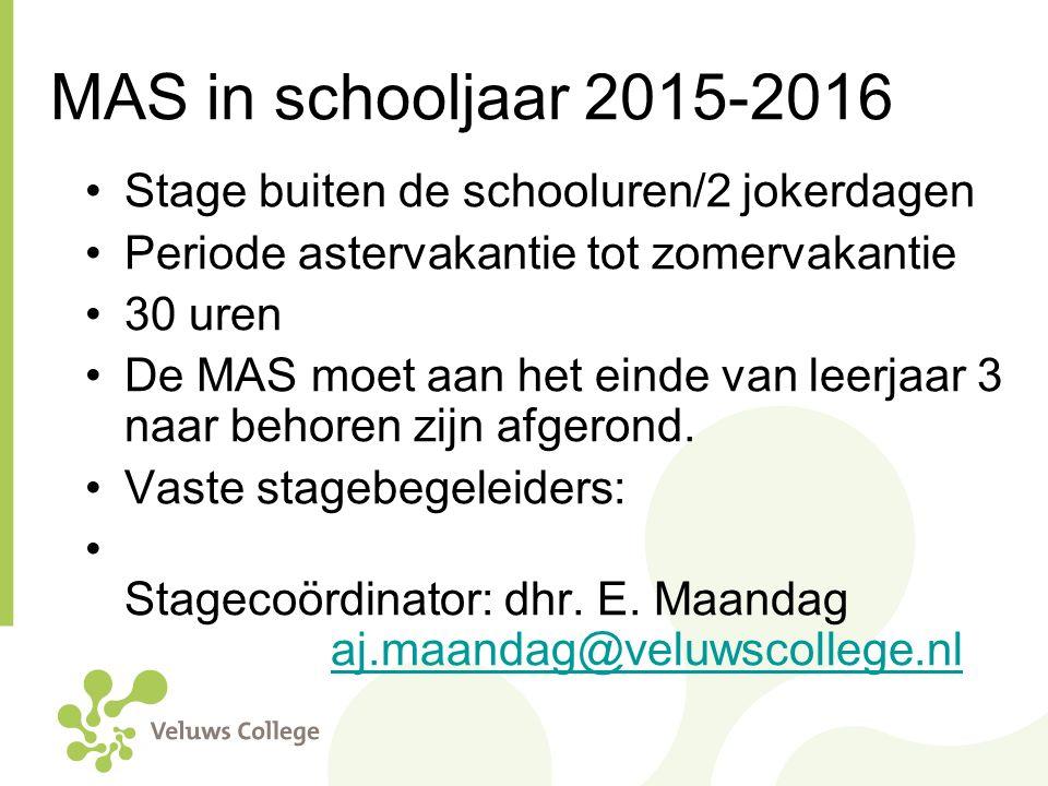 MAS in schooljaar 2015-2016 Stage buiten de schooluren/2 jokerdagen
