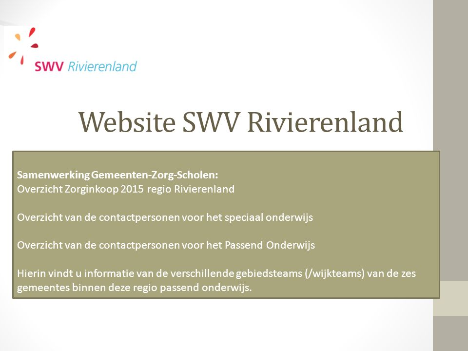 Website SWV Rivierenland