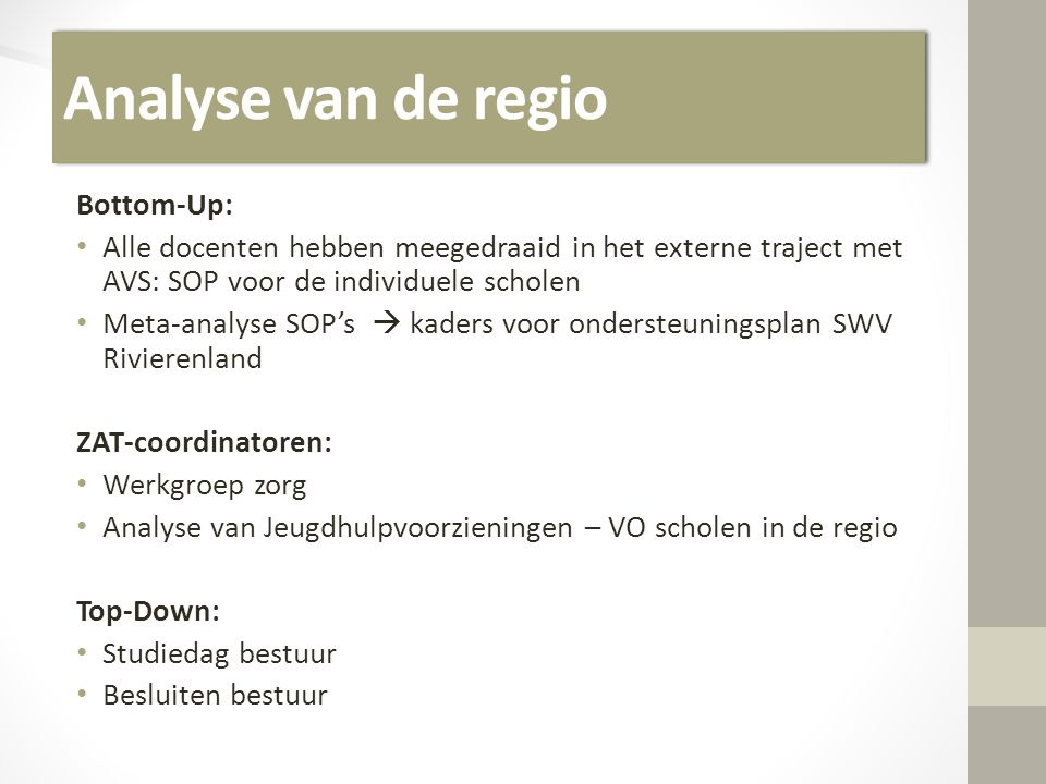 Analyse van de regio Bottom-Up: