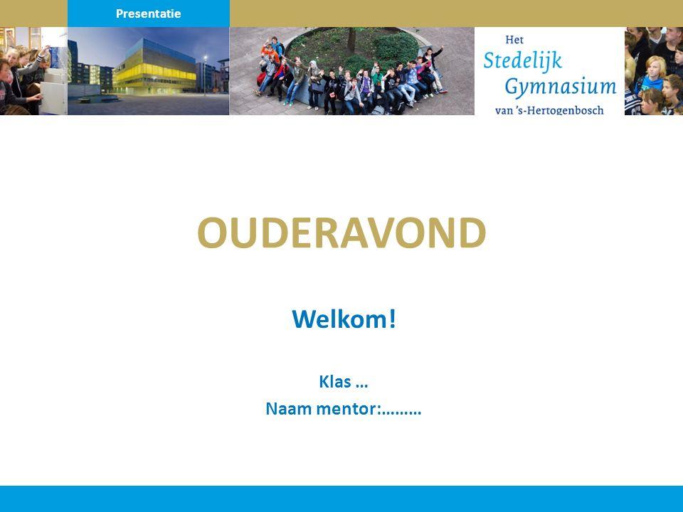 OUDERAVOND Welkom! Klas … Naam mentor:……… Presentatie
