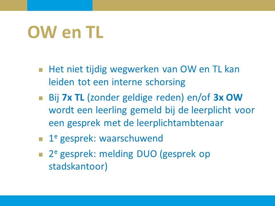 OW en TL Het niet tijdig wegwerken van OW en TL kan leiden tot een interne schorsing.