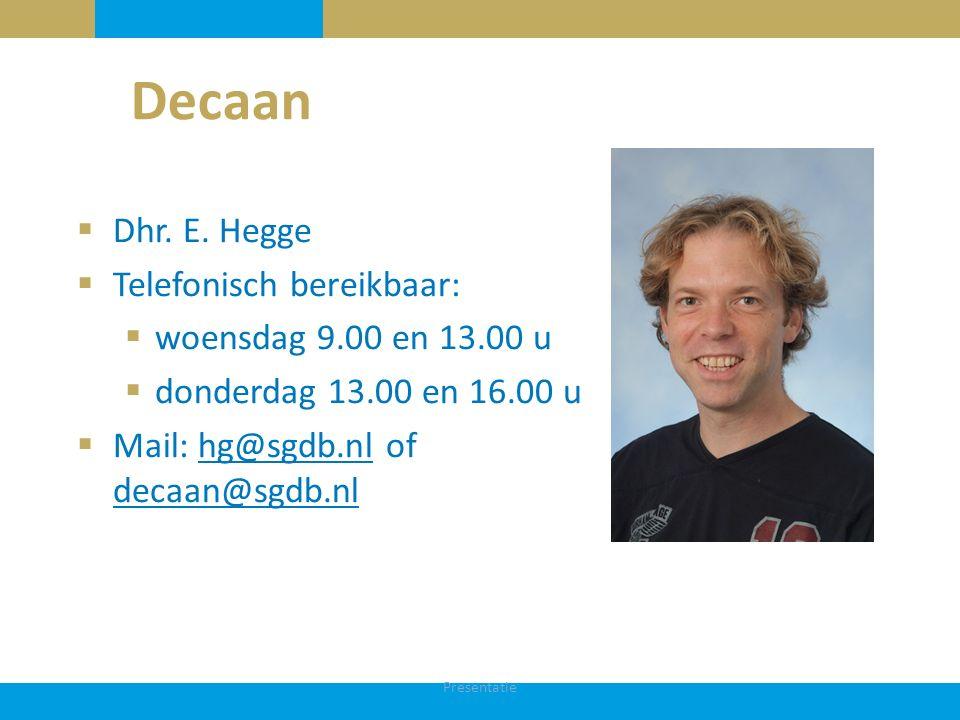 Decaan Dhr. E. Hegge Telefonisch bereikbaar: woensdag 9.00 en 13.00 u