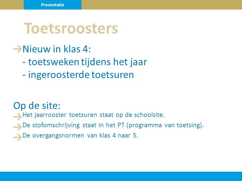 Presentatie Toetsroosters. Nieuw in klas 4: - toetsweken tijdens het jaar - ingeroosterde toetsuren.
