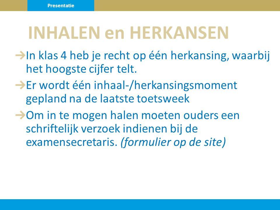 Presentatie INHALEN en HERKANSEN. In klas 4 heb je recht op één herkansing, waarbij het hoogste cijfer telt.