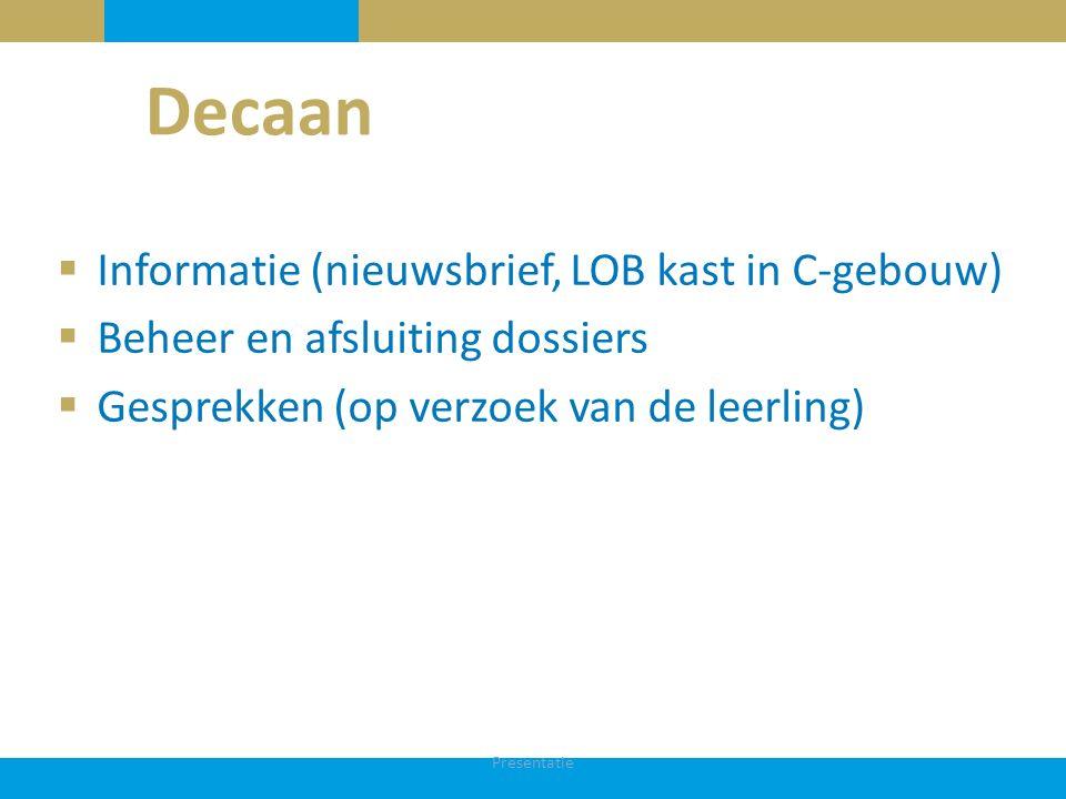 Decaan Informatie (nieuwsbrief, LOB kast in C-gebouw)