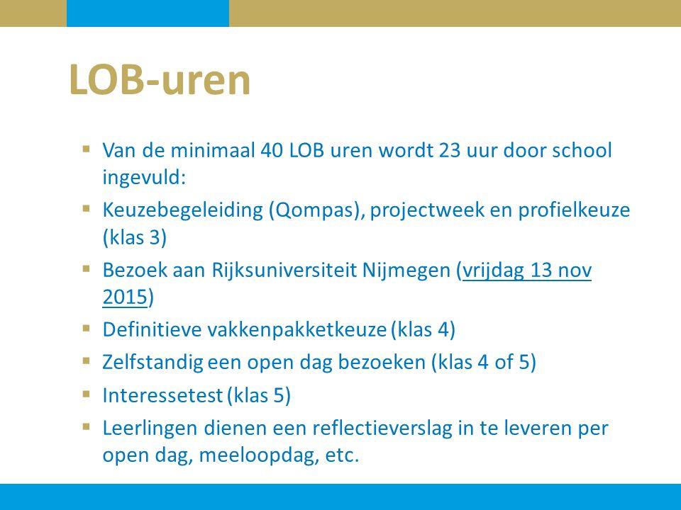 LOB-uren Van de minimaal 40 LOB uren wordt 23 uur door school ingevuld: Keuzebegeleiding (Qompas), projectweek en profielkeuze (klas 3)