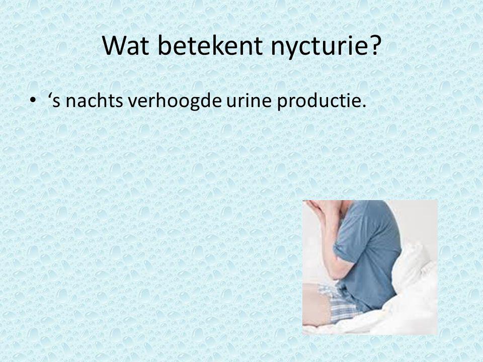 Wat betekent nycturie 's nachts verhoogde urine productie.