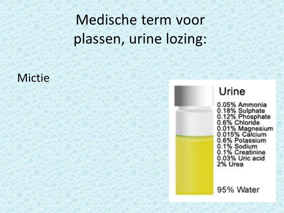 Medische term voor plassen, urine lozing: